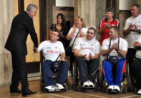 Beograd 10.9.2012. g. - Predsednik Nikolić priredio je svečani prijem za paraolimpijce koji su na OI u Londonu osvajili 5 medalja