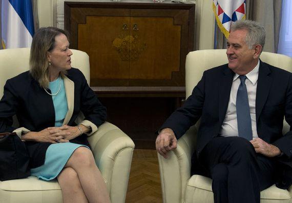 Beograd 13.9.2012. g. - Predsednik Nikolić primio je u oproštajnu posetu gđu Merli Vorlik, ambasadorku SAD-a u Beogradu.