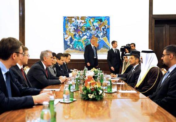 Beograd  9.1.2013 - Predsednik Nikolić i državni vrh sa princem prestolonaslednikom Ujedinjenih Arapskih Emirata.
