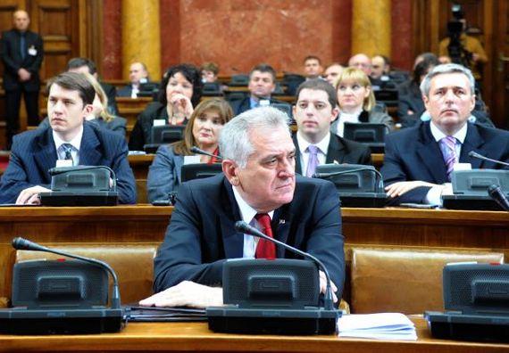 Beograd 12.1.2013 - Predsednik Nikolić na vanrednoj sednici Narodne skupštine Republike Srbije.
