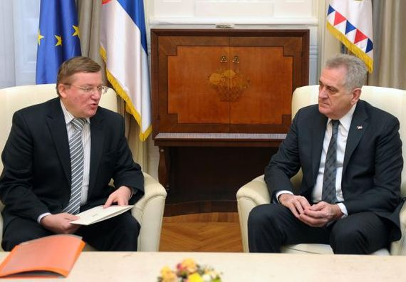 Beograd 15.1.2013 - Predsednik Nikolić sa ambasadorom Republike Belorusije.