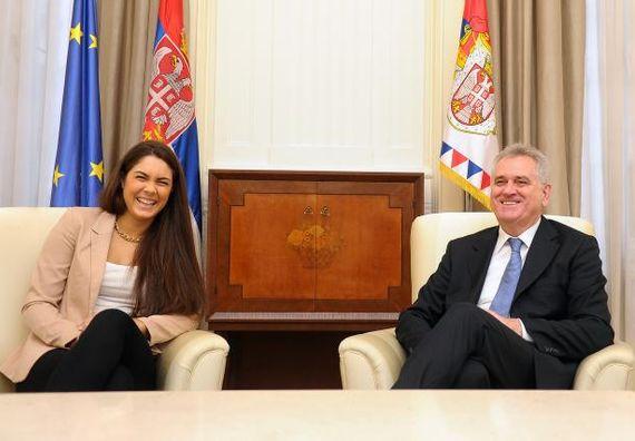 Beograd 16.1.2013 - Predsednik Nikolić sa reprezentativkom Srbije u tekvondu, Milicom Mandić.