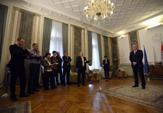Beograd 16.1.2013 - Predsednik Nikolić sa stranim novinarima.