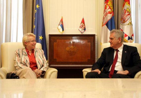 Beograd  10.7.2013. god. – Predsednik Nikolić sa ambasadorom Danske Mete Kjuel Nilsen