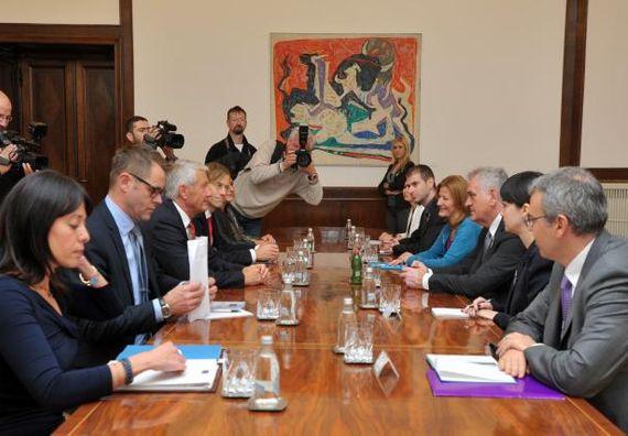 Београд, 7.11.2013. год, Председник Николић са Торбјорном Јагландом, генералним секретаром Савета Европе.