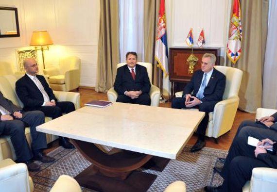 Beograd, 10.1.2014. god. Predsednik Nikolić sa predstavnicima hrvatske nacionalne manjine u Srbiji.