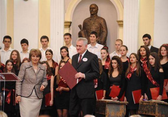 Крагујевац, 10.11.2013. год, Председник Николић на свечаној академији поводом 180 година постојања Прве крагујевачке гимназије.