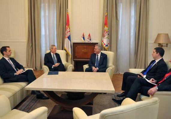 Beograd, 23.1.2014. god. Predsednik Nikolić na sastanku sa ambasadorom Sjedinjenih Američkih Država, gospodinom Majklom Kirbijem.