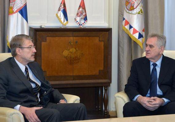 Beograd, 23.12.2013. god. Predsednik Nikolić sa ambasadorom Belgije