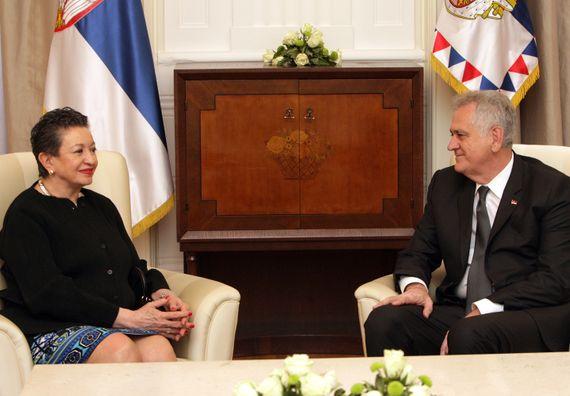 Београд, 3.4.2014. год. Председник Николић примио је у опроштајну посету амбасадорку Мексика.