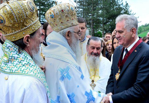 Valjevo, 3.5.2014. god. Predsednik Nikolić u poseti manastiru Ćelije.