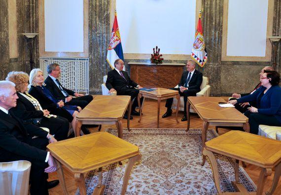 Beograd, 6.5.2014. god. Predsednik Nikolić sa predsednikom Evropske akademije nauka i umetnosti, gospodinom Feliksom Ungerom.