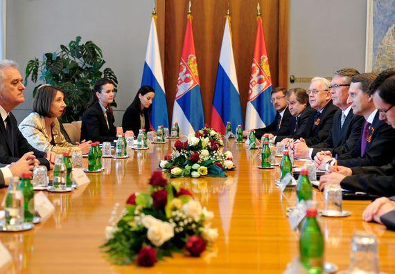 Beograd, 6.5.2014. god. Predsednik Nikolić sa predsednikom ruske Državne dume Sergejem Nariškinom.