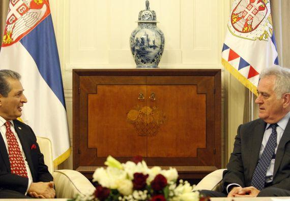 Beograd, 12.5.2014. god. Predsednik Nikolić sa Muhamedom Nabhanom, ambasadorom Palestine.