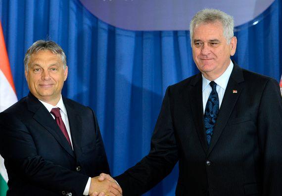 Beograd, 1.7.2014. god, Predsednik Nikolić sa premijerom Mađarske, Viktorom Orbanom.