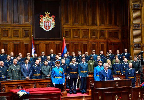 Beograd, 4.7.2014. god, Predsednik Nikolić na svečanosti uručenja oficirskih sablji oficirima 57. klase Generalštabnog usavršavanja Škole nacionalne odbrane.