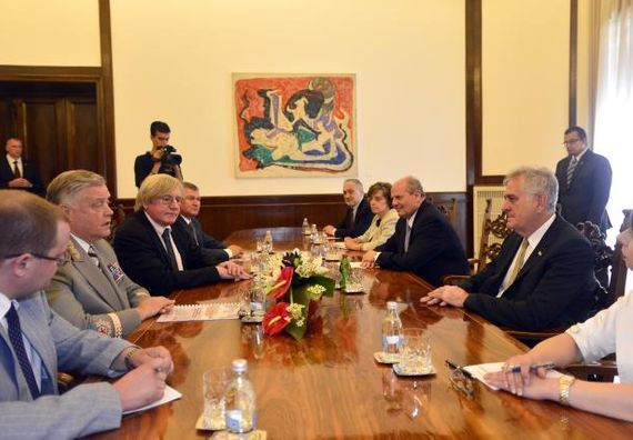 Beograd, 10.7.2014. god, Predsednik Nikolić sa Vladimirom Jakuninom, predsednikom Ruske železnice.