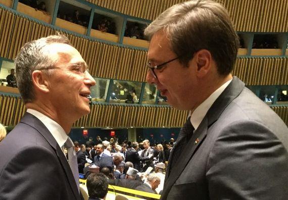 Generalni sekretar NATO Jens Stoltenberg i predsednik Vučić
