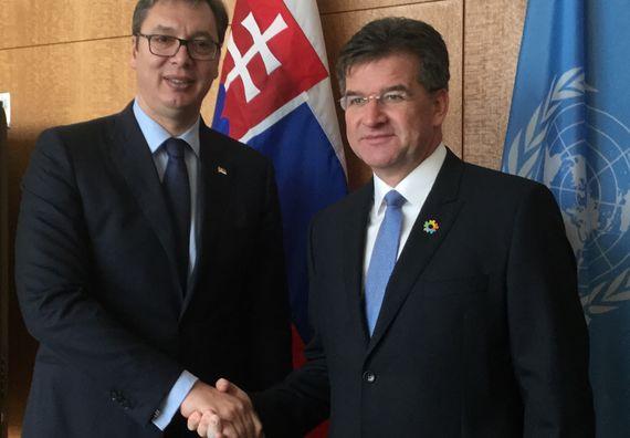 Predsednik Vučić sa predsedavajućim Generalne skupštine Ujedinjenih nacija Miroslavom Lajčakom