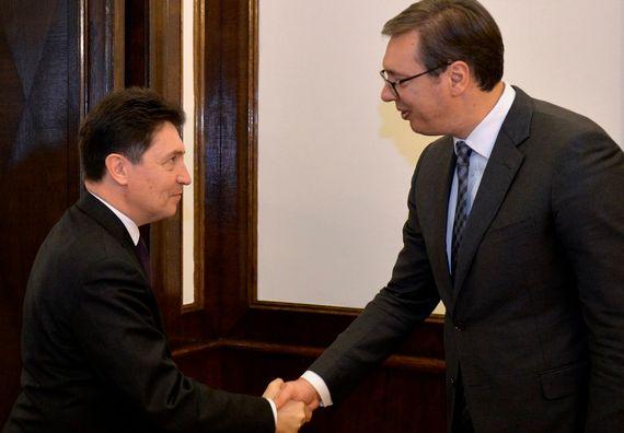 Sastanak predsednika Vučića sa članom Odbora za spoljne poslove, odbranu i oružane snage Senata Francuske Olivijeom Kadikom, Foto Tanjug, Rade Prelić