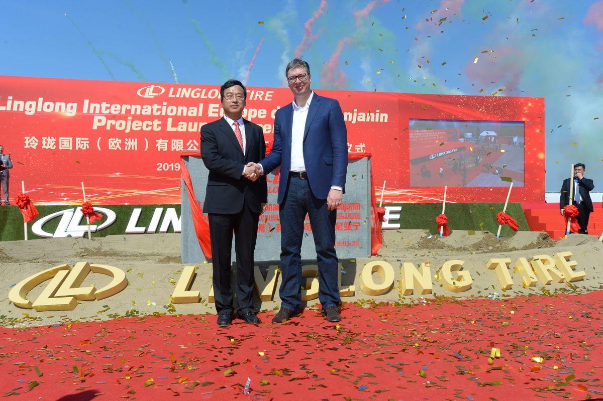 "Постављање камена темељца за фабрику ""Shandong Linglong Tyre Co Ltd"