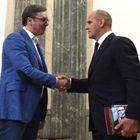 Председник Вучић са руским спортистима Александром Карељином и Александром Поповим