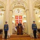 Predsednik Republike Srbije Aleksandar Vučić na sastankusa ministrom odbrane Aleksandrom Vulinom i predstavnicima vojnog vrha