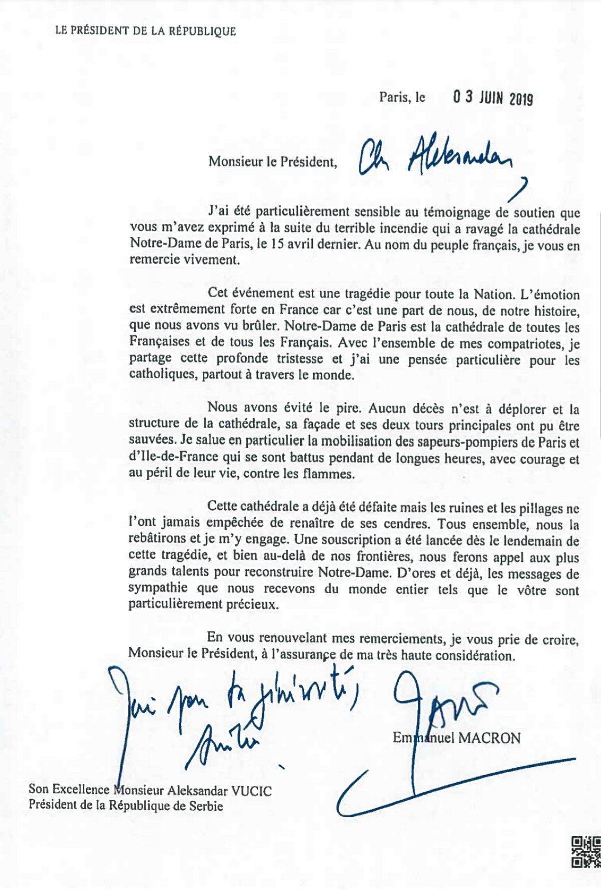 Писмо председника Француске Републике