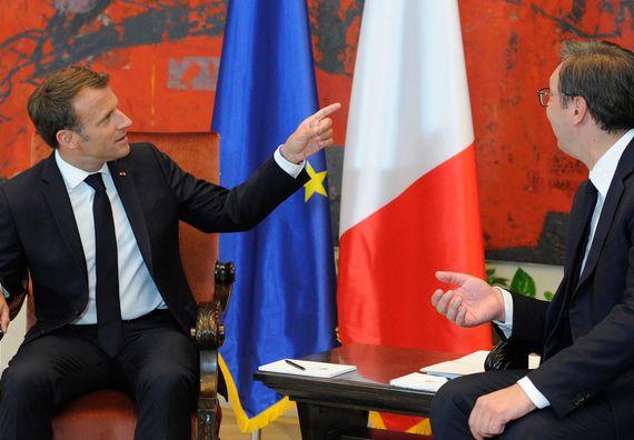 Sastanak predsednika Republike Srbije Aleksandra Vučića i predsednika Republike Francuske Emanuela Makrona