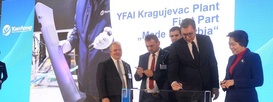 Predsednik Vučić prisustvovao svečanom otvaranju fabrike Yanfeng Automotive Interiors u Kragujevcu