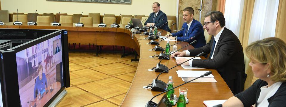 Video konferencija predsednika Aleksandra Vučića i savezne kancelarke Angele Merkel