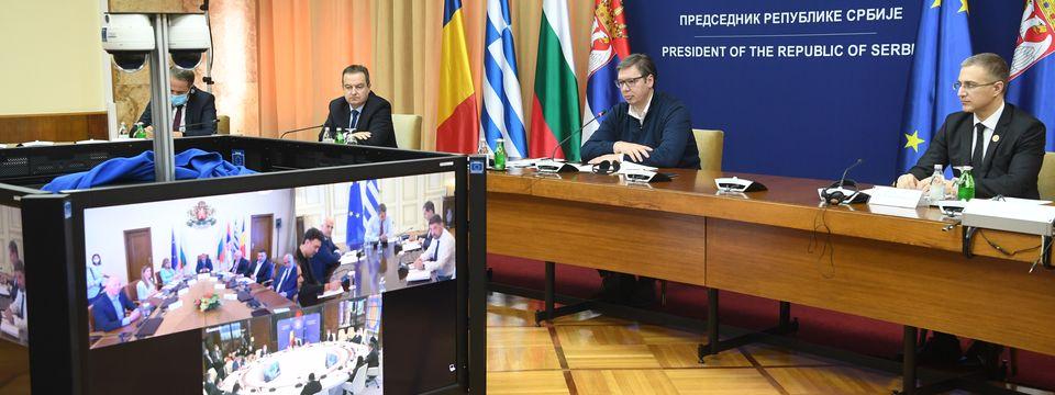 Видео конференцијски састанак Високог савета за сарадњу Републике Србије, Републике Бугарске, Републике Грчке и Румуније