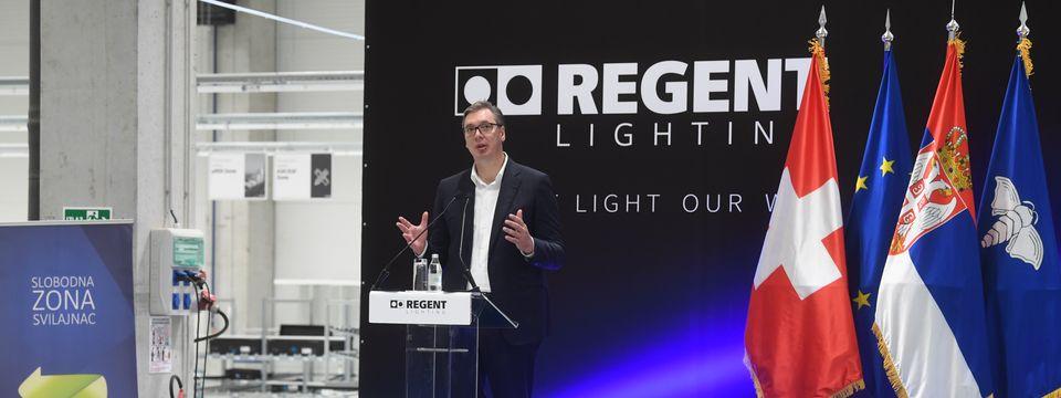 """Председник Вучић присуствовао свечаном отварању фабрике """"Regent Lighting"""""""